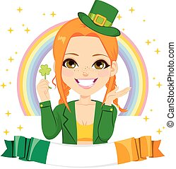 Saint Patrick Leprechaun Girl Banner - Happy girl dressed as...