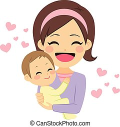 Happy Mother Holding Baby - Young cute happy mother smiling...