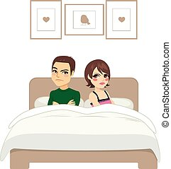 Couple Arguing Bed - Young couple with arms crossed arguing...