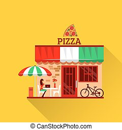 Vector of pizza restaurant with terrace in front Woman eats...