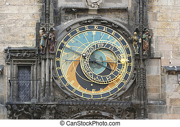Prague astronomical clock detail of astronomical dial