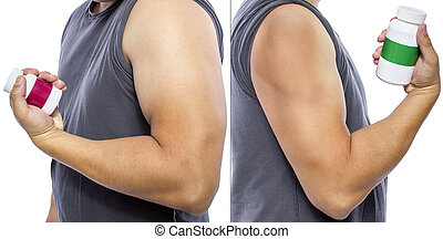 Results of Fat Burner Supplements - Man showing fat burner...
