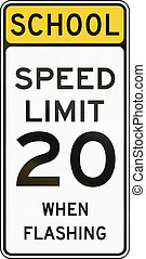 United States MUTCD school zone road warning sign - Speed...
