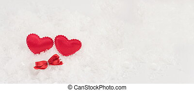 hearts on a white snowy background - four hearts on a white...