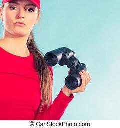 Lifeguard supervising with binoculars - Lifeguard woman girl...