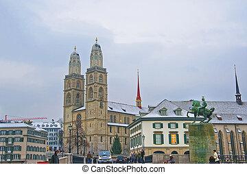 Grossmunster and Monument to Hans Waldmann in winter Zurich...