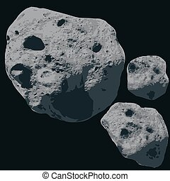 Falling Meteorite. Asteroids - Asteroids on a black space....