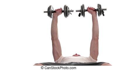 Dumbbell Chest Press - Dumbbell chest press exercise. Studio...
