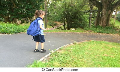 little girl going to schoo - little girl age 5-6 going to...