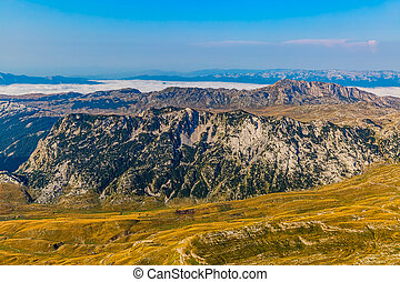 Montenegro Durmitor national park - aerial - Helicopter...