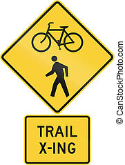 United States MUTCD road warning sign assembly