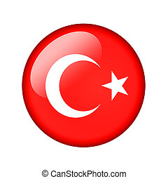 The Turkish flag Round glossy icon Isolated on white...