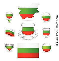 Bulgaria Flag Collection Vector icon set