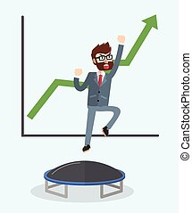 Business man jumping trampoline