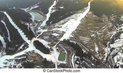 Aerial shot of ski resort Bukovel