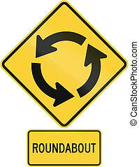 United States MUTCD road warning sign assembly.