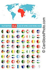 Round Flat Button Flags Of Africa Complete Set and World Map