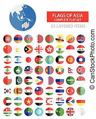 Round Flat Flags of Asia Complete Set Flag set in...