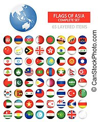Round Glossy Flags of Asia Complete Set Flag set in...