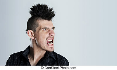 Mohawk rage - Man is super angry and sports a mohawk haircut