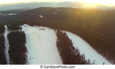 Aerial shot of downhill skiing