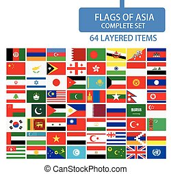 Flags of Asia Complete Set. Flag set in alphabetical...