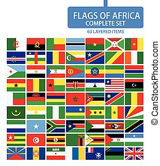 Flags of Africa Complete Set. Flag set in alphabetical...