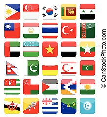 Asian Flags Flat Square Icon Set 2All elements are separated...