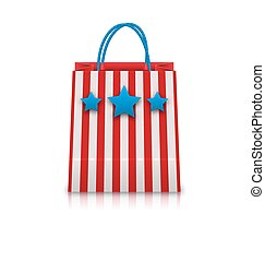 Shopping Bag in USA Patriotic Colors for Natioal Holidays