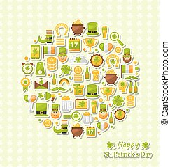 Collection of Colorful Flat Design Icons for Saint Patrick's Day