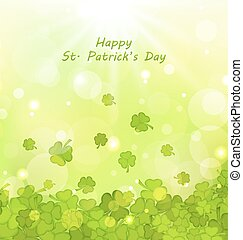 Glowing Background with Clovers for St. Patrick's Day