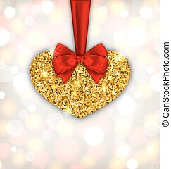 Shimmering Golden Heart with Red Silk Ribbon