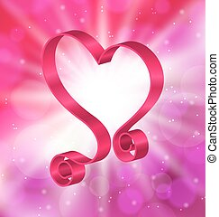 faire boucle, rose, Ruban, dans, Formulaire, coeur, pour,...