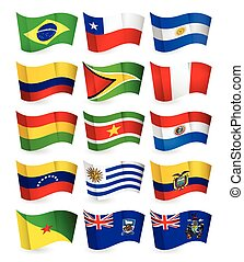 South America country flying flags setAll elements are...