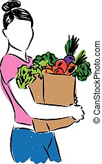 woman with grocery bag illustration
