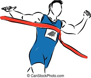 RUNNER AT THE FINISH LINE illustrat