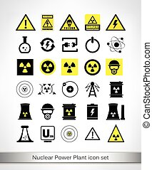 Nuclear Power Plant icon set Vector illustration
