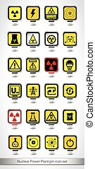 Nuclear Power Plant pin icon set Vector illustration