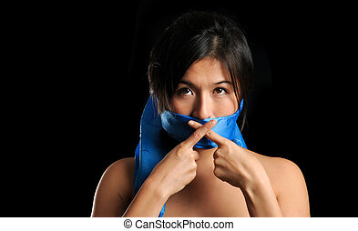 Asian womans voice - Girl gagged with blue scarf crosses her...