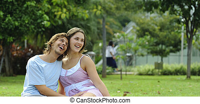 Summer bliss - Couple are very happy together in the park