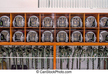 helicopter pilot helmet on the lockers - many of helicopter...