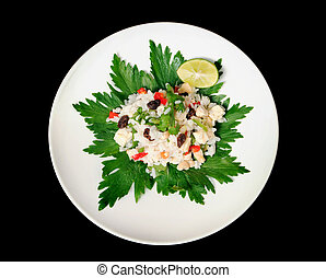 A healthy choice - Rice salad, healthy, vegetarian, isolated...