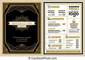 Restaurant or cafe menu cover design template with vintage retro art deco frame style