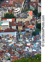 Aerial view of Rio favela - Aerial view of Favela and...