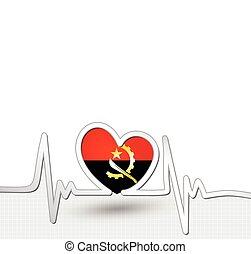 Angola flag heart and heartbeat line
