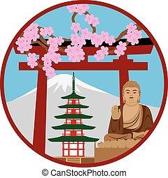 Symbols of Japan in Circle Illustration - Japan Pagoda Torii...