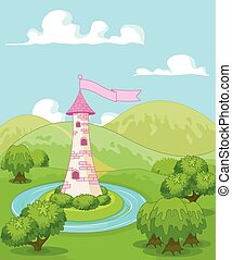 Fairytale tower - Magic fairytale tower rural landscape