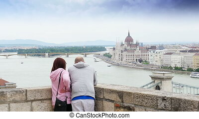 """couple enjoy with budapest river view, hungary, 4k"""