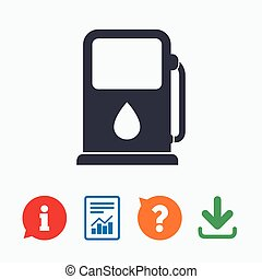 Petrol or Gas station icon. Car fuel sign. - Petrol or Gas...