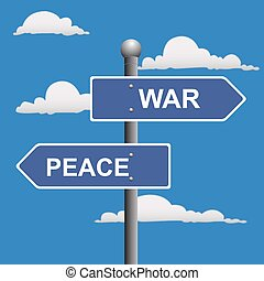 War peace opposite signs  - War, peace, opposite, signs